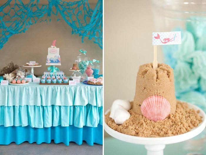 mermaid1Dessert Tables, Sands Castles, Amy Atlas, Brown Sugar, Sand Castles, Mermaid Parties, Beach Theme, Mermaid Birthday, Desserts Tables