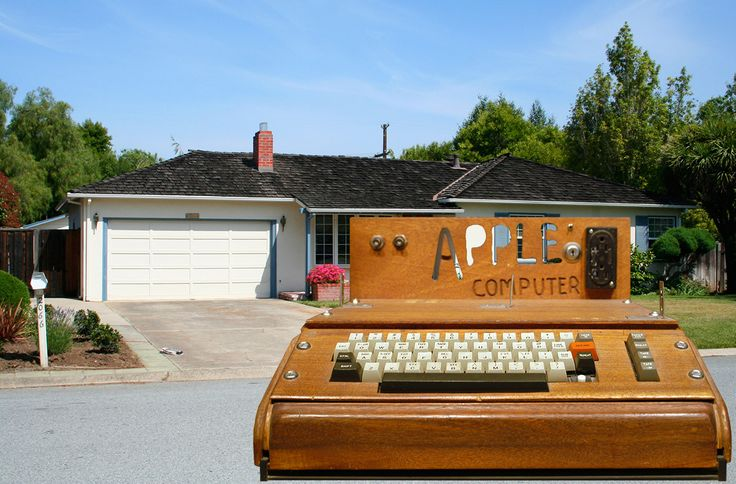 First Apple I (1976) and famous garage in Los Altos, Ca.