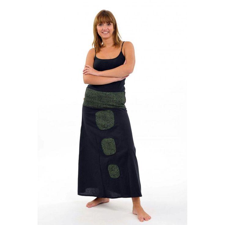 Jupe tribal teuffeuse Nama noir vert kaki - FantaZia-Shop