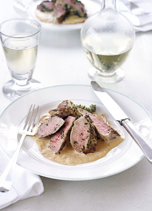 Valentine Warner's roasted lamb neck fillet with garlic sauce