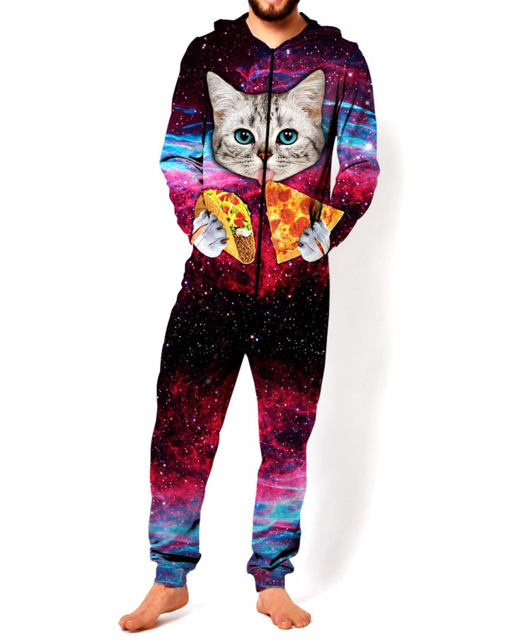 Check out the all-over print Taco Cat jumpsuit! This fully sublimated design features a cute cat with blue eyes eating tacos and pizza in space! Get this vibrant jumpsuit for your closet now. Producti