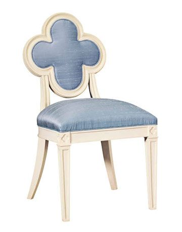 """I'm always on the lookout for the perfect small chair, something for a foyer or the dressing table. It's a hard piece to find, so I made it myself. Now it's the signature piece in the collection, and named after my daughter, Alexandra."" SILK UPHOLSTERY, MAHOGANY, $1,326.   - HouseBeautiful.com"