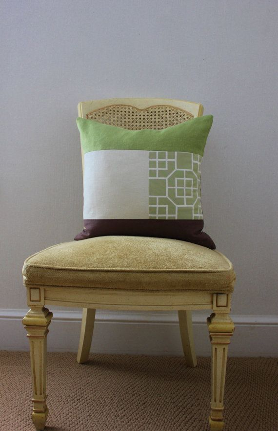 Mixed Fabric Green and Brown Pillow Cover by DesignDissected