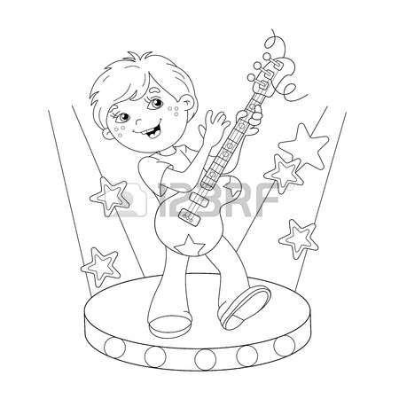 page boy: Coloring Page sagoma di cartone animato ragazzo a suonare la chitarra sul palco. libro da colorare per i bambini