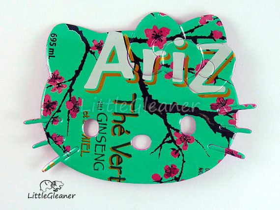 Green with pink flowers Hello Kitty Magnet  Made by LittleGleaner