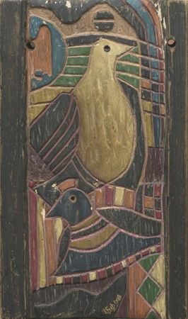 Lucky Sibiya (1942 - 1999). BIRDS undated. Carved and painted wood panel, 37 x 22cm.