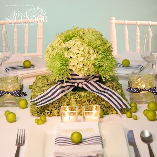 Navy Green Hydrangea Wedding Centerpiece The Limes On Table Give A Nice Touch