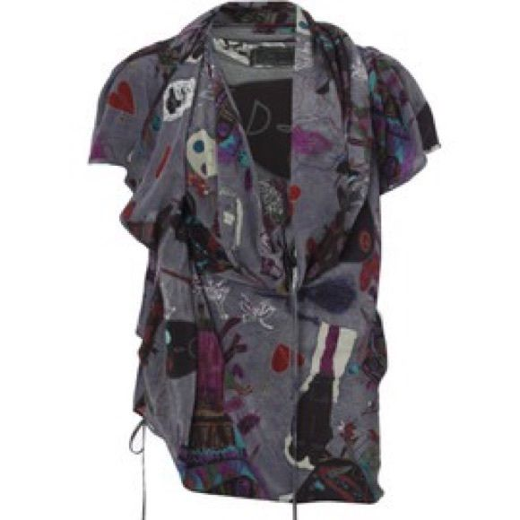 "All Saints Spitalfields Cassiopia silk blouse 10 This is a gorgeous All Saints Spitalfields silk Cassiopia graphic top. Size 10. Bust 48"". Has skulls and tombstones cartoon like graphics. Grey with multicolor graphics. 100% silk. All Saints Tops Blouses"