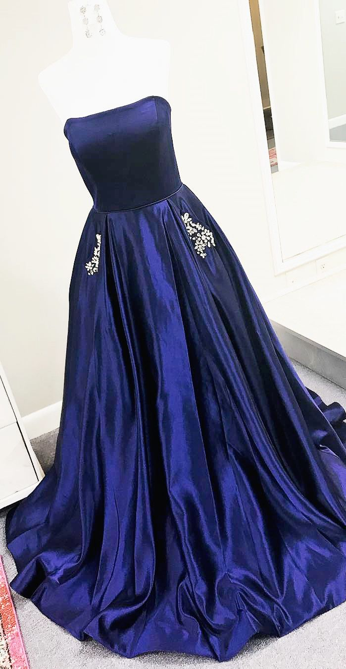 strapelss navy blue long prom dress with pockets party dress