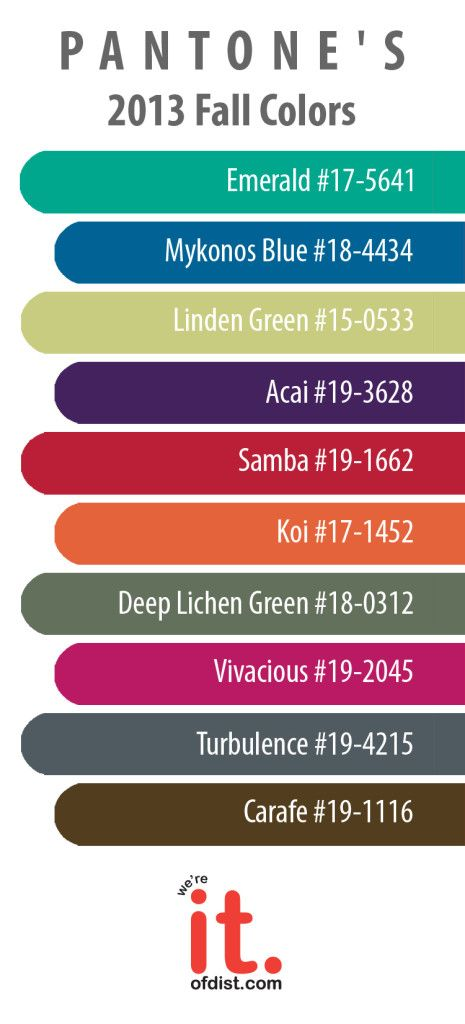 Pantone's 2013 Fall Colors