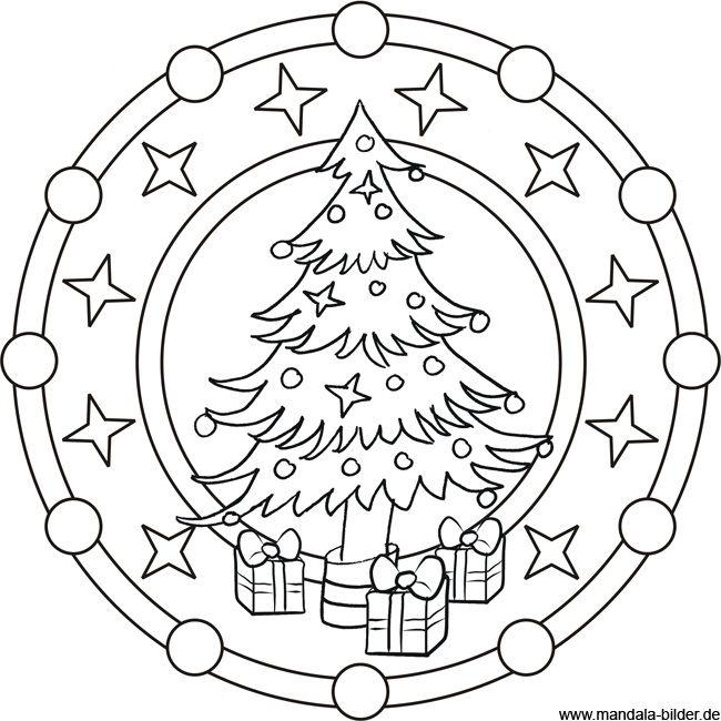 malvorlage oma | Mandala Malvorlage zu Weihnachten - Weihnachtsbaum und Geschenke