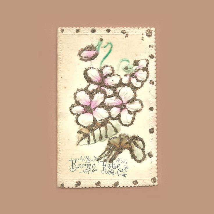 French Antique lllustrated Postcard Best Wishes Saint Name's Day Bunch of Flower Tulip Illustration Mica Sprinkle Dust Scrapbooking