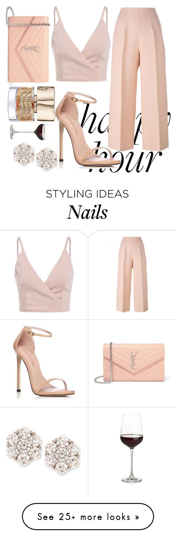 """""""HAPPY HOUR"""" by ballcajxhesika on Polyvore featuring Fendi, Stuart Weitzman, Yves Saint Laurent, Crate and Barrel and Mémoire"""