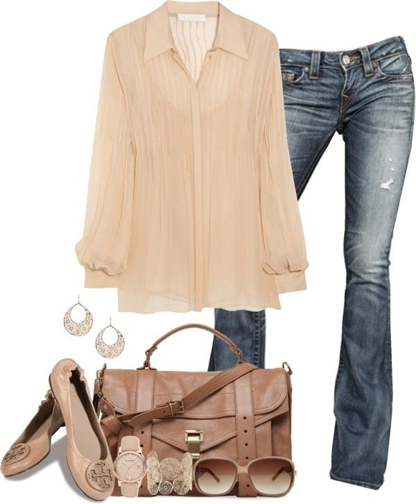 Neutral outfit...but would carry a saddle/brown bag with splash of color scarf