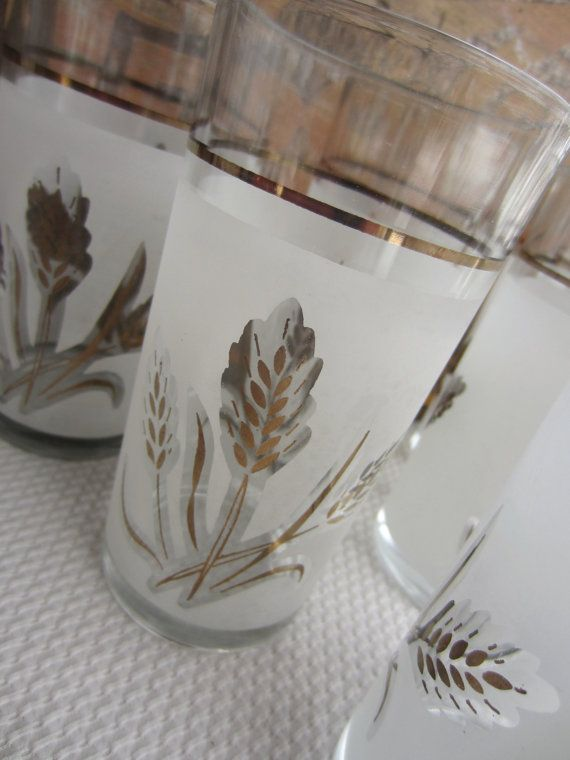 Vintage Mid Century Frosted Wheat Glasses with Gold by corrnucopia