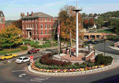 Downtown Morgantown Campus.  Notice the mast of the USS West Virginia that sunk in Pearl Harbor.