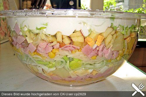 Fruchtig - pikanter Schichtsalat, ein schmackhaftes Rezept aus der Kategorie Eier & Käse. Bewertungen: 160. Durchschnitt: Ø 4,5.