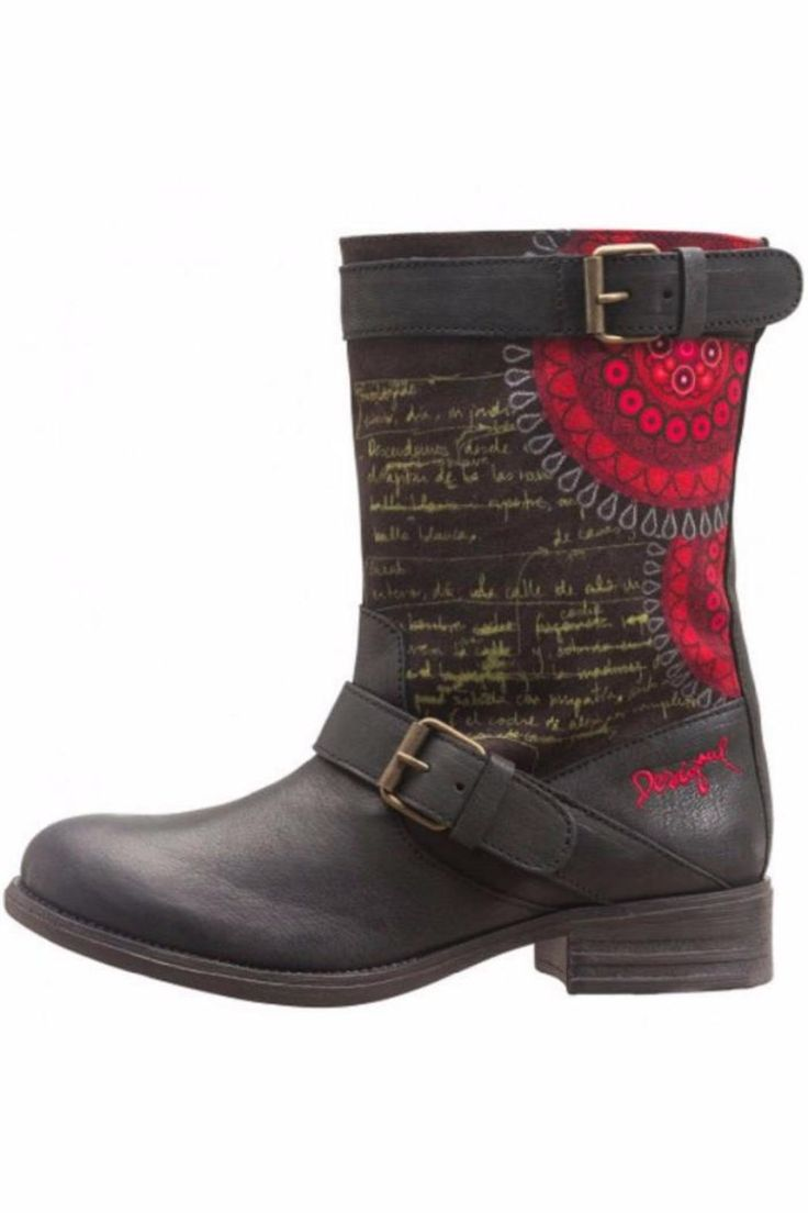 """Cute rain boot by Desigual had red floral print with yellow writing. Wear with denim or a pencil skirt. These boots have a fun biker feel.    Heel measures 1.5""""   Black Rain Boot by DESIGUAL. Shoes - Boots - Rain and Cold Weather St. George, Utah"""