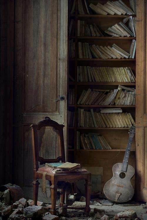 books and guitar - someone long forgotten used to play the guitar and loved to read - now gone and lost to the ages