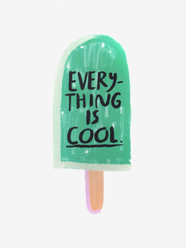 Everything is Cool | Contemporary Children's Art Print in Green Popsicle. Perfect for Baby Nursery, Kids Room or Playroom Decor