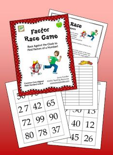 Corkboard Connections: Race Against the Clock to Find Factors!  Free activity from Laura Candler's Teaching Resources - review game for practicing how to find factors of a number