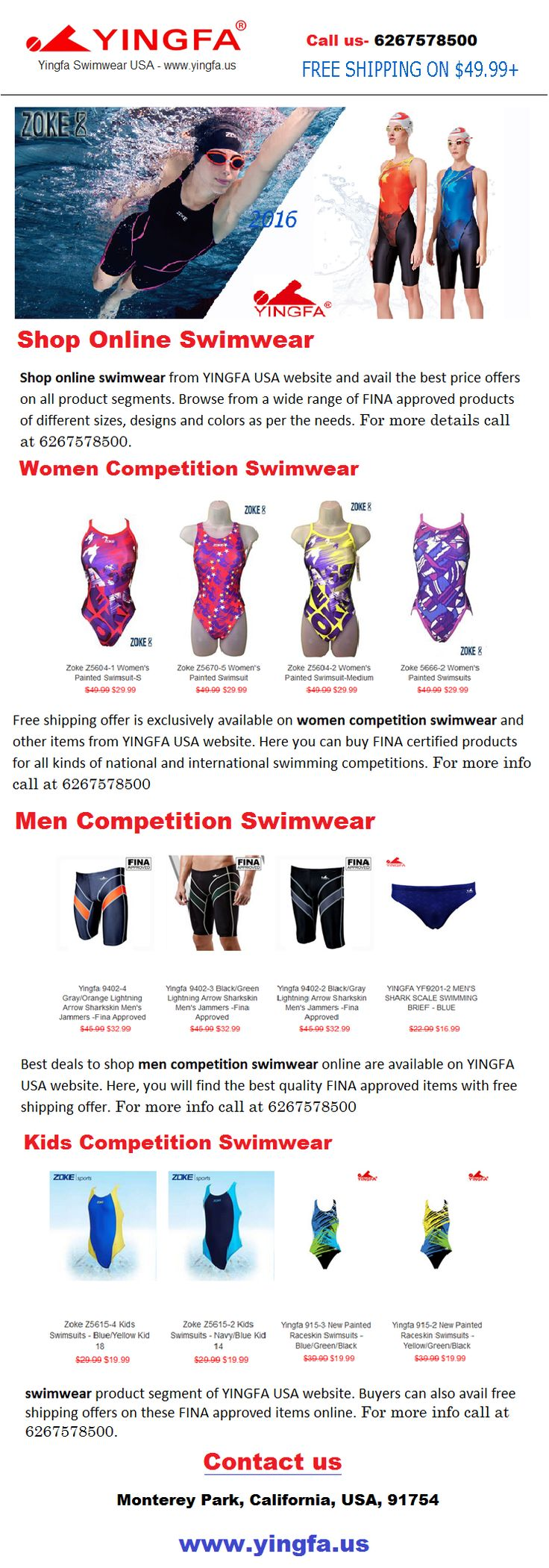 Shop online swimwear from YINGFA USA website and avail the best price offers on all product segments. Browse from a wide range of FINA approved products of different sizes, designs and colors as per the needs. For more details call at 6267578500.