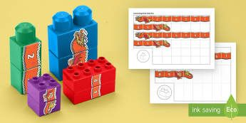 Chinese New Year Number Dragon to 10 Connecting Bricks Game - EYFS Connecting Bricks Resources, duplo, lego, numbers to 10, number recognition, number ordering