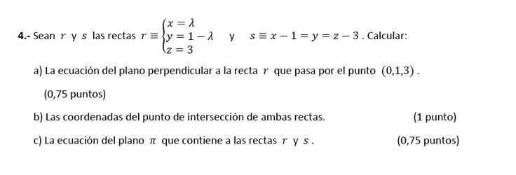 Ejercicio 4B 2014-2015 Junio. Propuesto en examen pau de Canarias. Matemática. Geometría métrica.