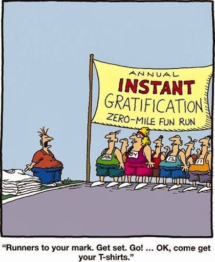 Annual Instant Gratification Zero-mile Fun Run - Runners to your mark.  Get set. Go!... OK, come get your t-shirts