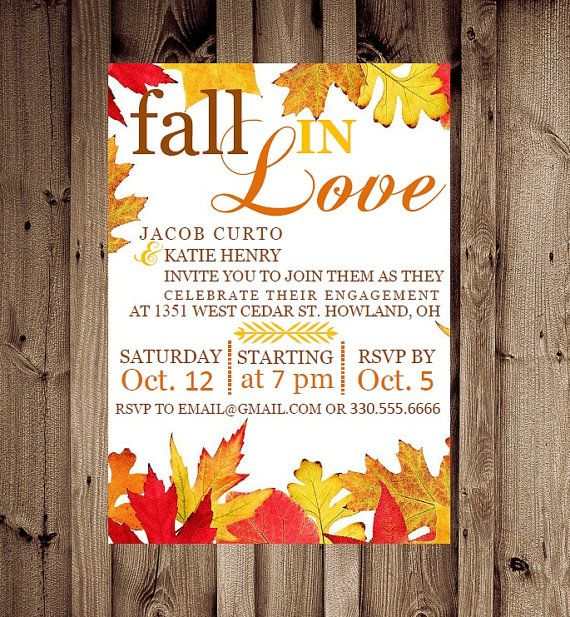 Printable Custom Fall in Love Engagement Party Invitation on Etsy, $14.70