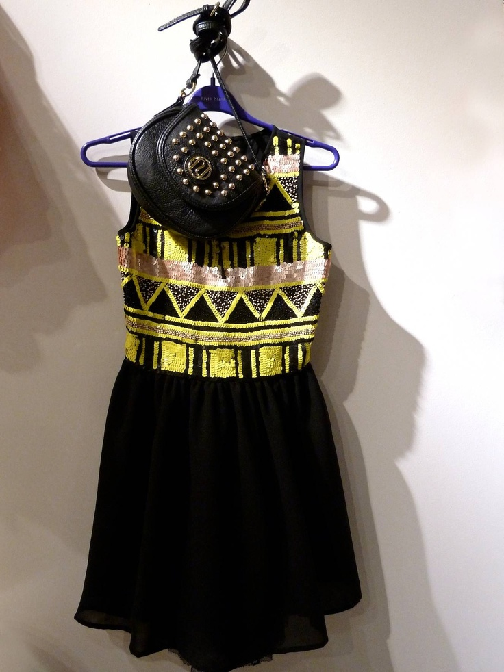 Gorgeous sequinned top dress and funky kids bag from River Island for summer 2013