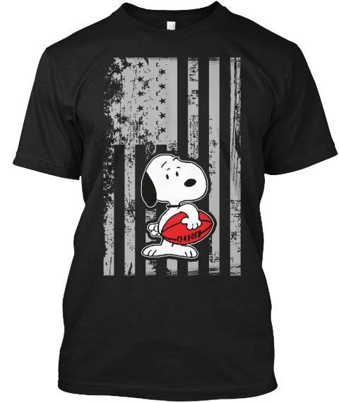 American Football T Shirt , Snoopy Shirt Black T-Shirt Front