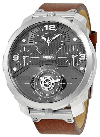 Montre Diesel DZ7360 Homme - Quartz - Analogique - Cadran en Acier inoxydable Argent - Bracelet en Cuir Marron - Date - 4 Fuseaux Horaires - Etanche 5 bar