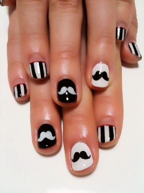 Black and white striped mustache nails