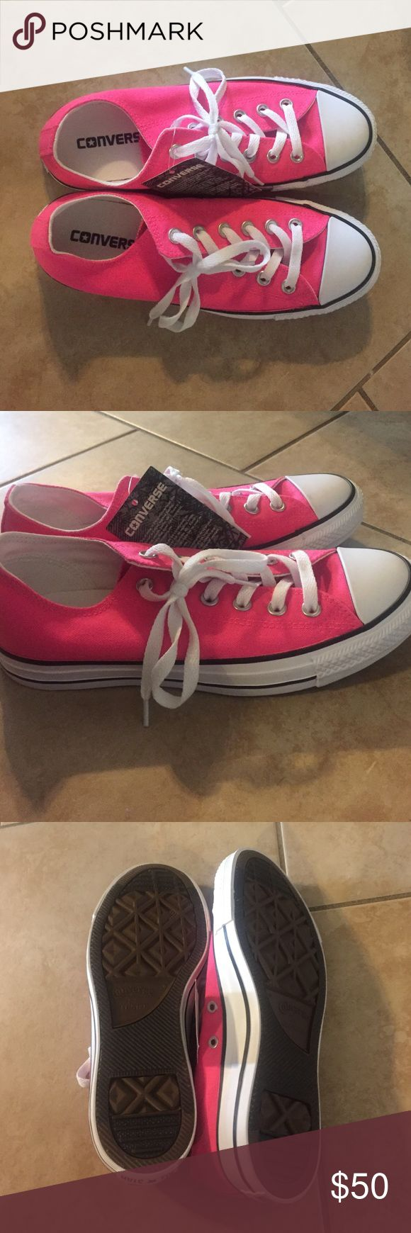 Neon Pink Converse These are never worn! This pink color is beautiful and looks awesome with pretty much anything. 50 dollars or best offer! Converse Shoes Sneakers