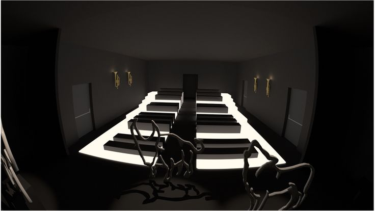 Interior design project render, piano keyboard inspired