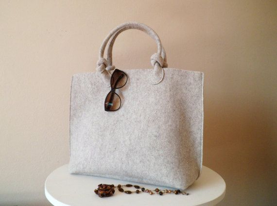 Casual elegante beige borsa, borsa di feltro, lana sacchetto, sacchetto di mano, borsa italiana, shopper, shopping bag, fatto a mano in borsa in Italia, BeFeltBags