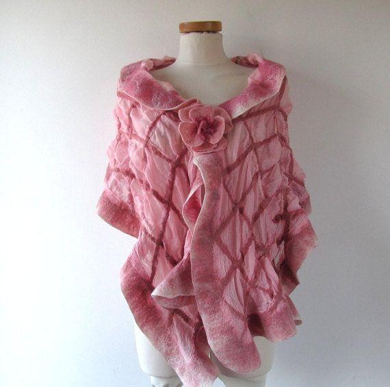 Pink Felted scarf,  Floral felt scarf,  women Ruffle scarf  Wedding pink shawl scarf in a cage Light summer shawl outdoors gift Galafilc