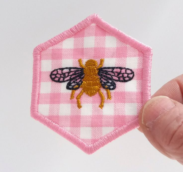 Iron on patch, embroidered patch, patch for backpack, patches for jeans, patches for jackets, pink gingham patch,bee patch, hexagons, hexie. by JaneAtNumber13 on Etsy
