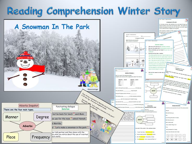 Reading Comprehension, Text/Adverbs/Said Synonyms/Direct Speech/Presentation/Worksheets, Lessons1-5