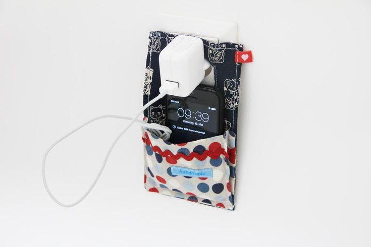 Kostenlose Nähanleitung: selbstgenähte Ladetasche für Handy. Handytasche zum Aufladen selber nähen und mit handmade Textiletiketten versehen.