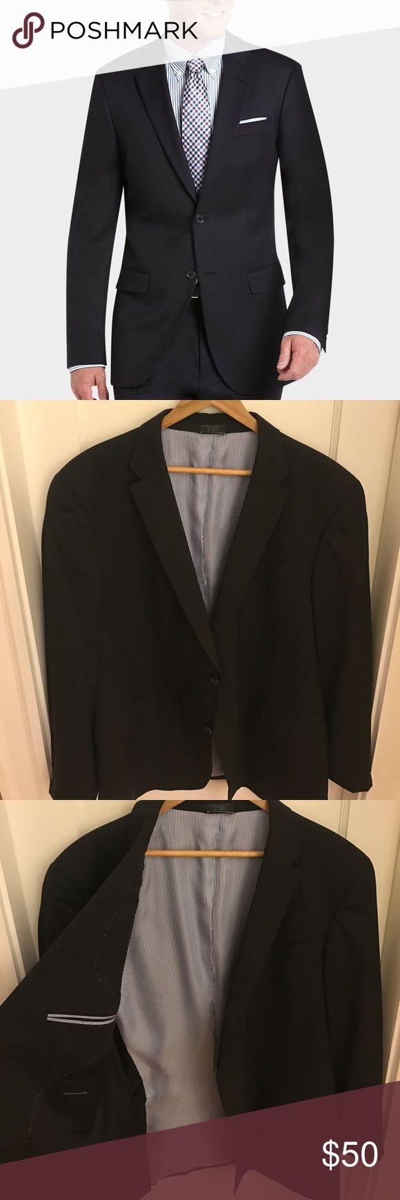 Tommy Hilfiger black suit jacket Tommy Hilfiger modern fit black suit jacket separate.100% wool. 2 button closure. Notched label. Only worn once. Tommy Hilfiger Suits & Blazers Sport Coats & Blazers