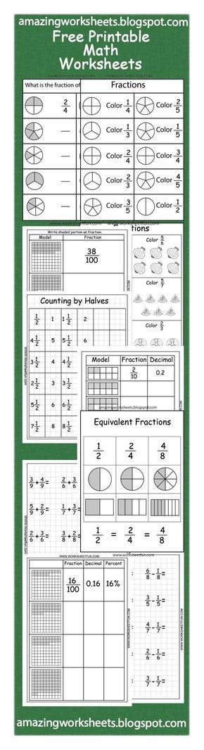 Free Printable Fractions Worksheets.    Free worksheets on many math topics. From preschool to fifth grade