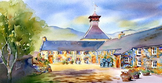 ONE FOR WHISKY LOVERS. THIS WATERCOLOUR BY JONATHAN WHEELER IS OF GLENFIDDICH DISTILLERY IN SCOTLAND. BUY IT NOW: http://www.artbreak.com/work/show/715243-glenfiddich-distillery-by-jonathan-wheeler-gallerysales