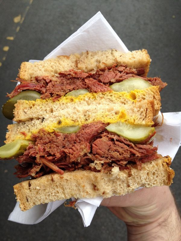 Perhaps the greatest ever sandwich...salt beef and pickles on rye
