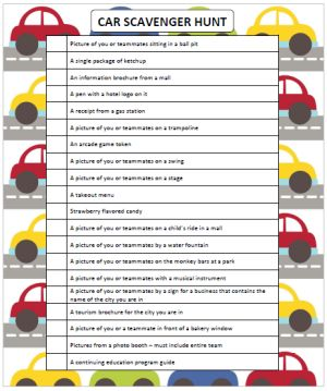 Car Scavenger Hunt For Teens Or Adults Free Printable Cars And Gaming