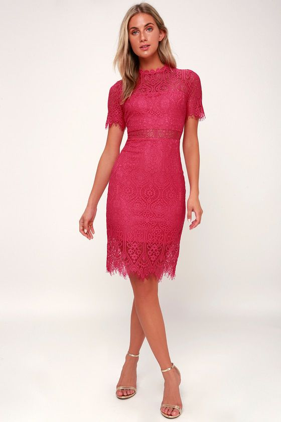 965028da5be7 Lulus | Remarkable Fuchsia Lace Dress | Size X-Small | 100% Polyester