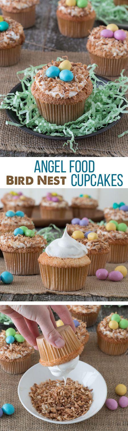 Angel Food Bird Nest Cupcakes - a fun bird nest cupcake using angel food cake and toasted coconut.