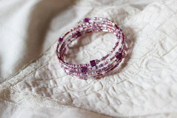 Delicate pink memory wrap bracelet Simple romantic by EttarielArt