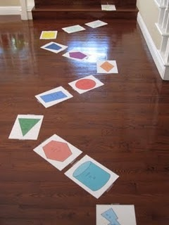 Full size game board -- print shapes with quick activities, simple dice with only 1's and 2's